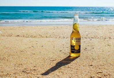 Corona Beer Bottle on Beach